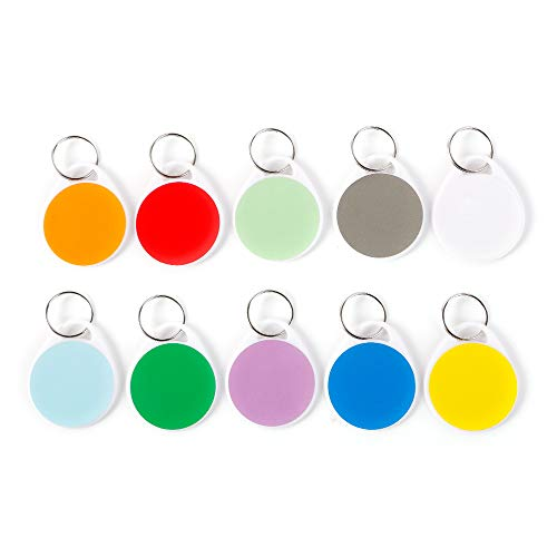 InterUS Round Key Tags with Split Ring ,Colorful Label,50 Pack Label Tags and 100 PCS Label Paper