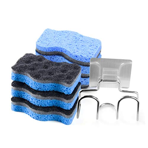 SSJL Multi-Use Sponges Kitchen with Adhesive Stainless Steel Holder - Natural Kitchen Sponges Dish Sponge Dual-Sided Cellulose Scrubber - Effortless Cleaning Eco Scrub Pads for Dishes (6 Pack)