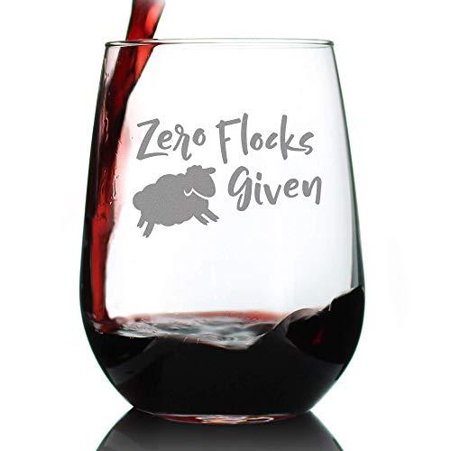 Zero Flocks Given Sheep - Funny Stemless Wine Glass - Cute Farm Animal Gifts for Women - Fun Lamb Decor - Large