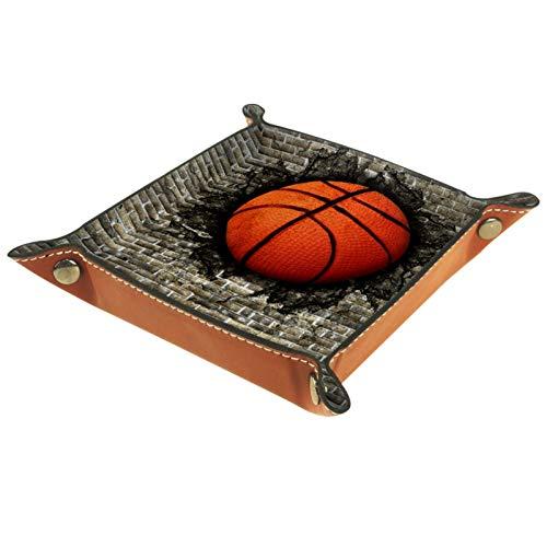 Bandeja de Cuero - Organizador - Baloncesto incrustado en una pared de ladrillo. - Práctica Caja de Almacenamiento para Carteras,Relojes,llaves,Monedas,Teléfonos Celulares y Equipos de Oficina