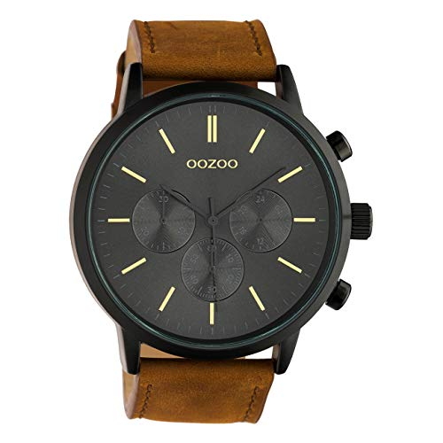 Oozoo C10543 - Orologio da uomo con cinturino in pelle, 48 mm, colore: Nero/Marrone