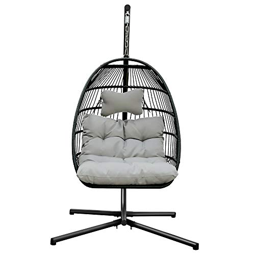 XICA Patio Wicker Agg Chair Rattan Metal Swing Hanging Hammock Chairs with UV Resistant Cushions and Aluminum Frame 350lbs Capaticy for Indoor Outdoor (Light Gray)
