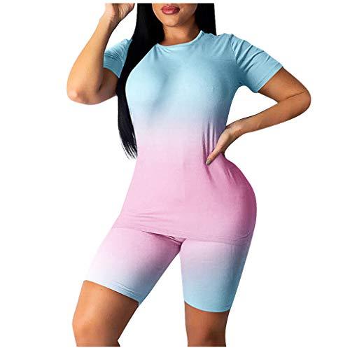 Briskorry Gradient Trainingssets für Frauen 2 Stück Ärmel Rundhals Bauchkontrolle Crop Top High Waist Shorts Yoga Outfits Set