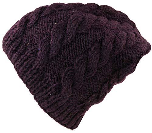 GURU SHOP Beanie Mütze, Strickmütze mit Zopfmuster, Herren/Damen, Plum, Wolle, Size:One Size, Mützen Alternative Bekleidung