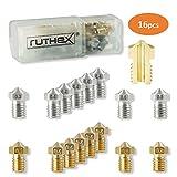 ruthex 3D Drucker Düsen/Nozzle V6 Set [16 Stück] | 8x Messingdüsen 8x Edelstahldüsen | 1,75 Filament | für 3D-Drucker z. B. Anycubic i3 Mega | Chiron | Prusa i3