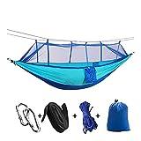 ZSP Hamaca Camping Hecho a Mano/Hamaca de jardín con mosquitero Muebles de Exterior 1-2 Persona Portátil Colgante Bed Strength Tela de paracaídas Swee Swing Balancearse (Color : Blue Sky Blue)