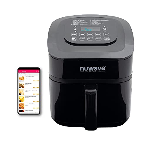 NUWAVE BRIO 7.25-Quart Digital Air Fryer cooking package with one-touch digital controls, 100 easy presets, precise temperature control, recipe book, wattage control, and advanced functions like PREHEAT and REHEAT
