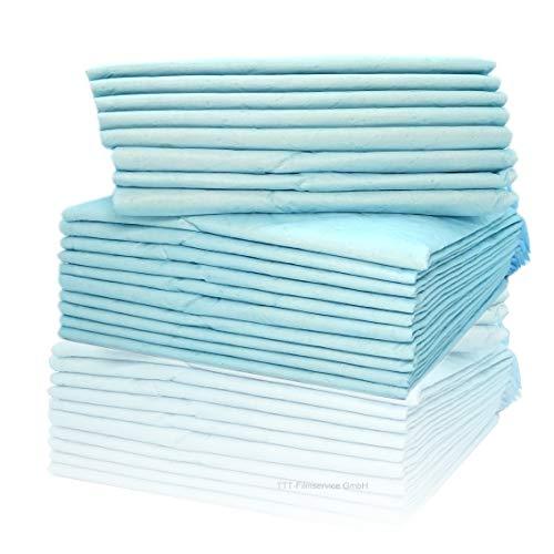 Inkontinenzunterlagen 40 x 60cm Einmalunterlagen Wickelunterlagen Tierunterlagen 6-lagige saugstarke Einmal-Krankenunterlage aus Zellstoff Farbe: blau/weiß von Cardiocell (200)