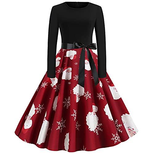 Anu Linen Christmas Vintage Dress For Women,Patchwork Printing Wedding Guest Dresses Long Sleeve A Line Xmas Santa Dress