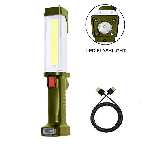 COB Led Work Light 1000 Lumens Cordless Portable handheld USB Rechargeable Magnetic Flashlight for Auto Underhood Repair Green