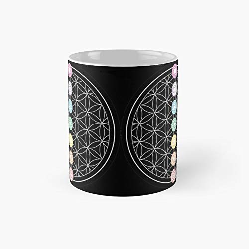 Sacred Geometry Flower Of Life Zzzchakras - Black Classic Mug Novelty Ceramic Cups 11oz, Unique Birthday And Holiday Gifts For Mom Mother Father-teiltspe