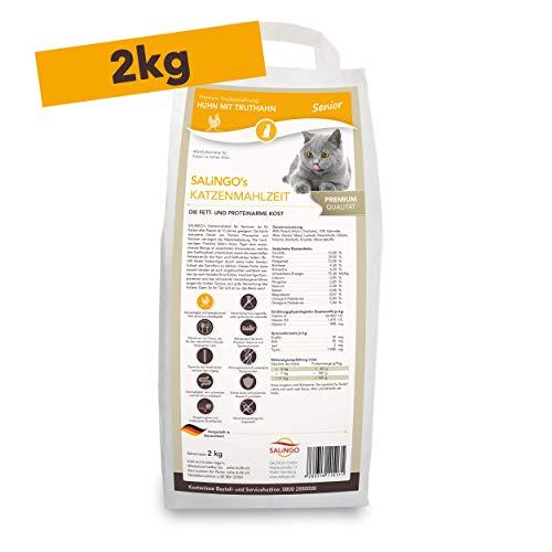 SALiNGO Premium Senior Katzenfutter trocken | Huhn mit Truthahn | zuckerfrei | 2kg