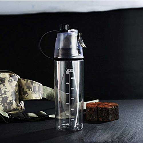 Botella de agua de plástico en aerosol de refrigeración de verano, taza para beber deportiva para escalada al aire libre, botellas de agua para reabastecimiento de fitness, 600 ml
