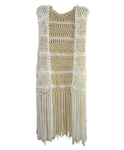 Tinacrochetstudio? Chaleco de ganchillo largo con flecos, para cubrir el bikini, ropa de playa de verano hippie -  Marfil -  Medium
