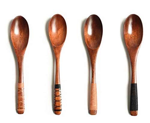 SMIN 4 cucharas de Madera de 20cm con Correas en el Mango