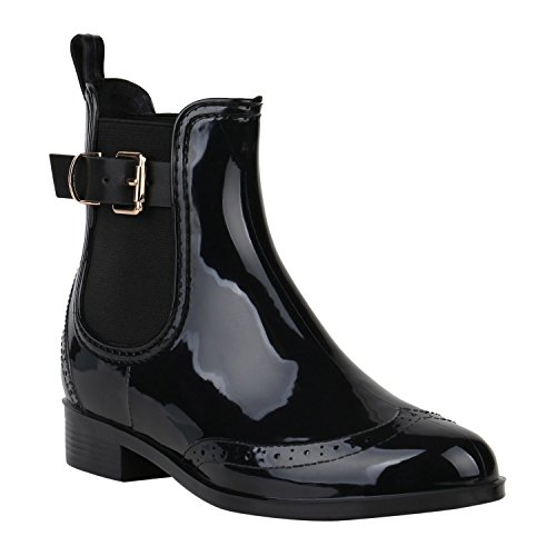 Damen Stiefeletten Chelsea Boots Lack Schnallen Gummistiefel Schuhe 150382 Schwarz Schnallen 39 Flandell