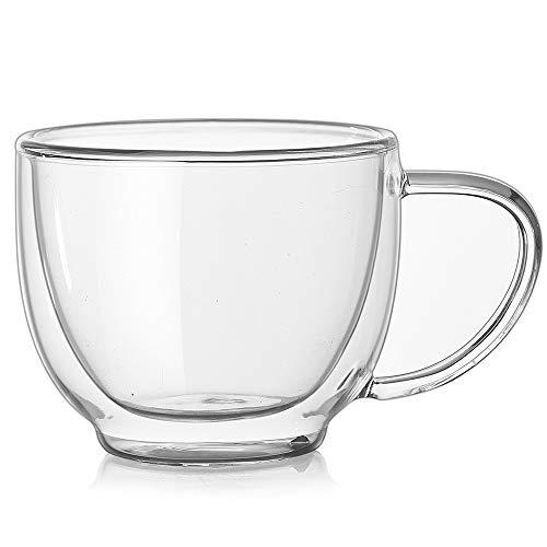 MxZas Drinkbekers, warmte-isolatie, cappuccino-kopjes, blussen, koffiekopje, dubbelwandig, geïsoleerde glazen beker, latte glazen