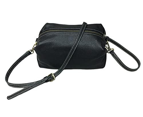 Bolso de cuero de la almohada del bolso femenino de la manija de la moda bolsos bolso multifuncional del viaje de la bolsa de la bolsa, Negro, M