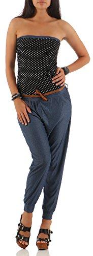 malito dames onesie met stippen | Overall in Jeans Look |Jumpsuit met riem | Broekpak - Playsuit 9651