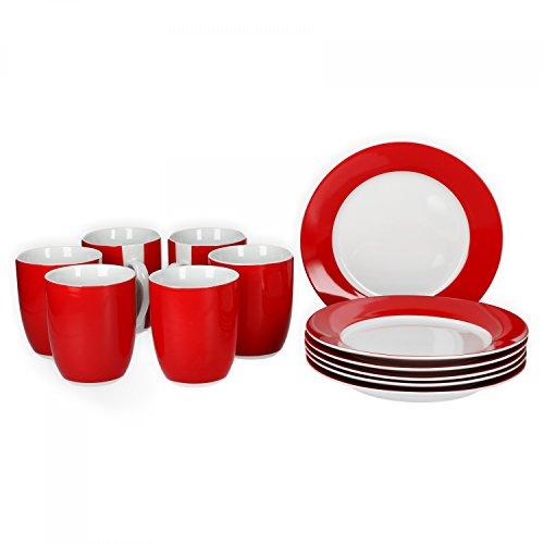 Van Well Frühstücksset 12-tlg. für 6 Personen Serie Vario Porzellan - Farbe wählbar, Farbe:rot
