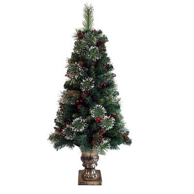 woyaochudan Pre-Lit Decorated Christmas Tree Artificial Green Pine Spruce with White Fibre Optic Branches LED Star Tree Topper Red Berries Pine Cones Poinsettia Flowers Xmas Decoration 4ft