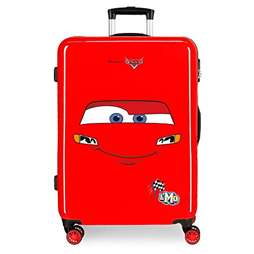 Disney Cars Lightning McQueen Medium Suitcase Red 48 x 68 x 26 cm Rigid ABS Side Combination Closure 70L 3.3 kg 4 Double Wheels
