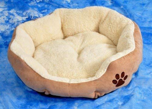 nanook Hundebett/Katzenbett Hazel in Wildlederoptik - beige mit Teddyfellkissen Größe S 43 cm Ø