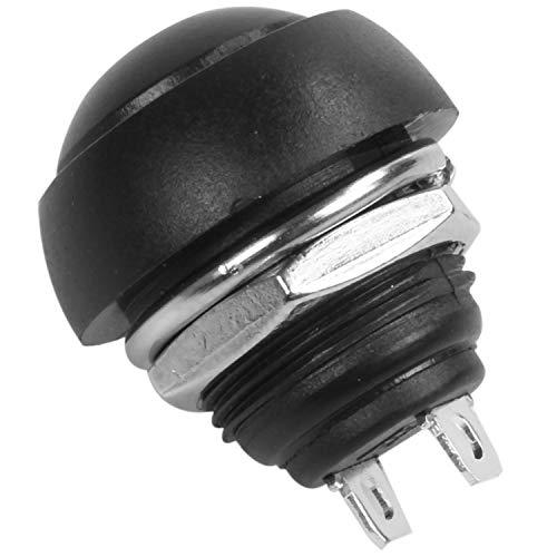 Gfhrisyty 5 piezas M4 12 mm impermeable momentáneo ON/OFF pulsador redondo SPST interruptor negro