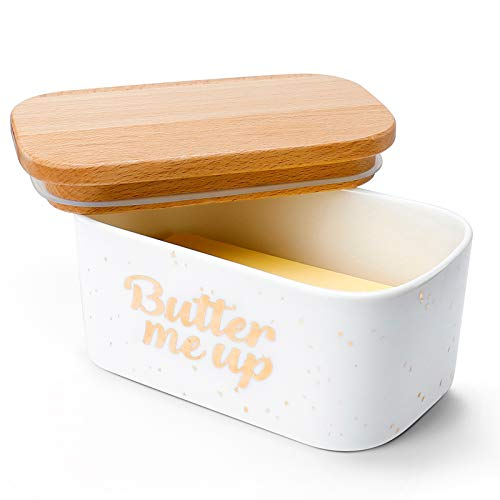 Sweese 303.156 Large Butter Dish - Airtight Butter Keeper Holds Up to 2 Sticks of Butter - Porcelain Container with Beech Wooden Lid - Butter Me Up
