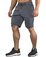 CRYSULLY Men's Elastic Drawstring Training Jogger Athletic Shorts Sweatpants Slim Fit Shorts Dark Grey