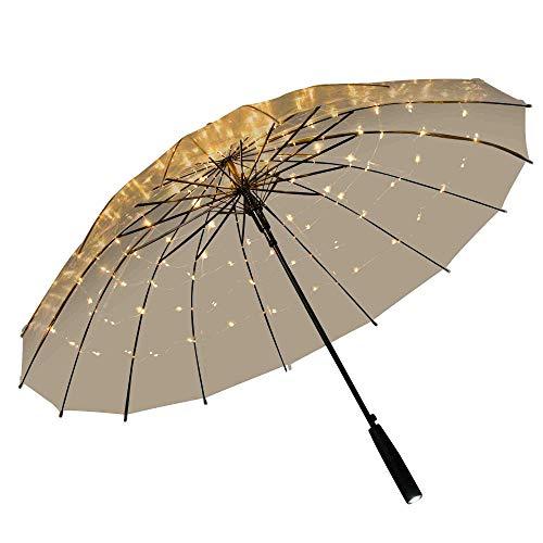 grau.zone Paraguas transparente, luz blanca con 120 ledes integrados y linterna.
