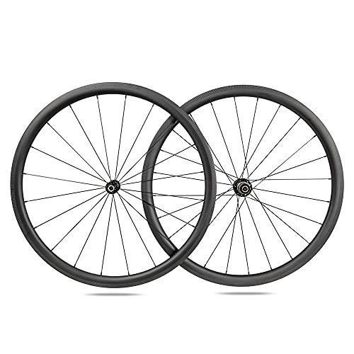 ICANIAN Alpha 38 Carbon Wheels Tubeless Riveter Ready - Bicicleta de carretera (20/24 agujeros, Shimano 10/11 V)