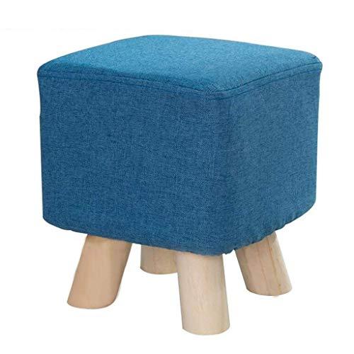 QQXX kruk van massief hout, gevoerde voetensteun, voor wisselschoenen, kleine bank, sofa, kruk, voeten, antislip, zitzak (kleur: blauw) QENG1875r-3 Qeng1875r-3