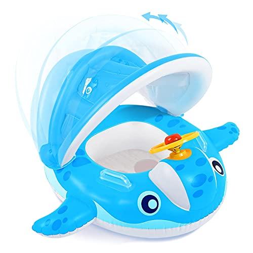 Peradix Flotador con Techo para Bebé, Anillo de Natación Bebé Juguetes de Piscina Barca Niños Hinchable, con Toldo Ajustable ,Volante,Anillo de Natación Playa Baby Float para Bebé de 12 a 36 Meses
