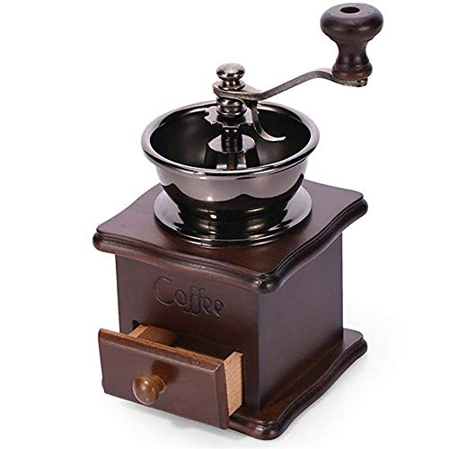New Wooden Manual Coffee Grinder Vintage Style Hand Coffee Mill Burr Coffee Grinder with Ceramic Han...