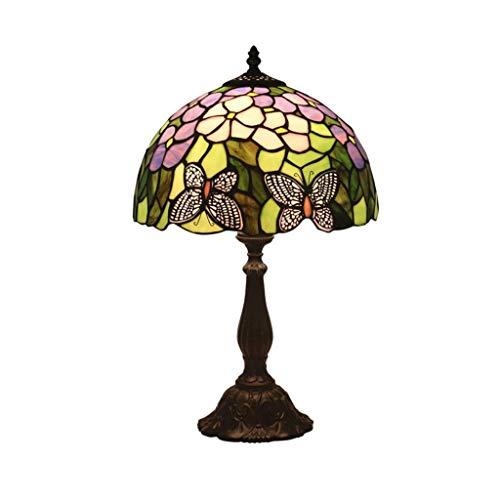 YWSZJ Lámpara de Mesa Creativa Europea, Habitación Sala Floral de la Mariposa Artesanal Arte del vitral de Sombra lámpara de Escritorio