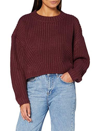 Urban Classics Women's Ladies Wide Oversize Sweater Sweatshirts, Cherry, M