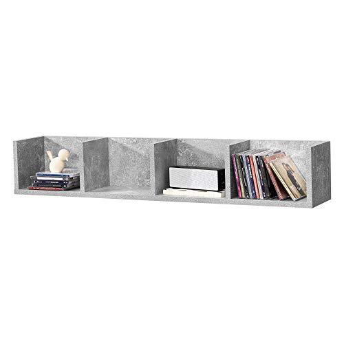 Mensola da Parete con 4 Scomparti a Forma di U Consolle Pensile 95 x 17 x 16,5 cm Portaoggetti Libreria - Effetto Cemento