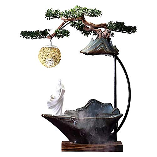 ZDAMN Fuente de Agua de Mesa Zen-como la decoración de cerámica de Agua Que Fluye del Tanque de Pescados Fuente Feng Shui Chino Afortunado Inicio de Escritorio Decoración Fuente Interior
