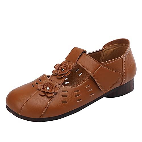 Fomino Zapatos de ocio para mujer, de malla, planos, transpirables, ligeros, sin cordones, modernos, cómodos., marrón, 37 EU
