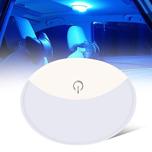 Teguangmei Coche LED Lámpara de Techo Universal Portátil USB Recargable 10LED Lámpara de Azotea Touch Interruptor,Usado Para el Interior del Automóvil,Camión,Barco,Dormitorio Light (Blanco y Azul)
