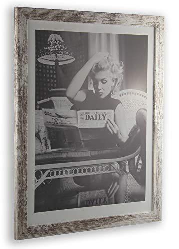 1a Bilderrahmen Monzetta 33x39 Weiss Vintage Shabby Chic 39x33 cm mit Rückwand und klarem Acrylglas 1mm