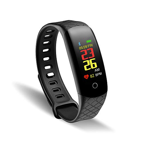 WalkerFit Fitness Tracker, Activity Tracker with Heart Rate Monitor, Black