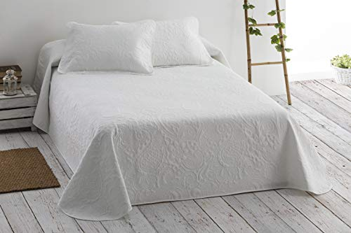 Cabello Textil Hogar - Colcha Bouti Lisa en Microfibra Transpirable, diseño 3D con Fundas de cojín Mod. TEBIT (Blanco, Cama de 135 cm (235x270 cm))
