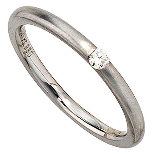 JOBO Damen-Ring aus 950 Platin matt mit Diamant Größe 54