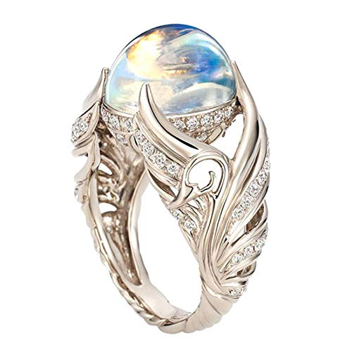 geshiglobal Anillos para mujeres y niñas y mujeres de imitación de piedra lunar con incrustaciones de diamantes de imitación de anillo de dedo para boda, White Gold*US 8,