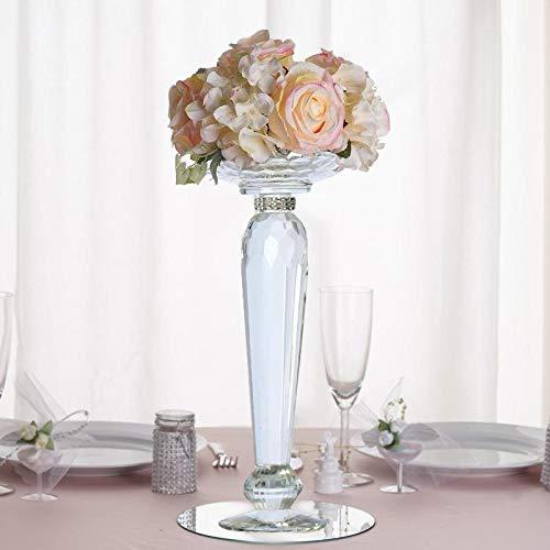 Efavormart 2 Pack 11' Tall Premium Cut Glass Crystal Candle Holder Floral Stand Centerpiece Riser - Premium