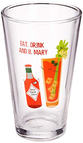 Pavilion Gift Company Eat, Drink & B. Mary-Bloody Mary-16 oz 16 oz Pint Glass Tumbler, Red