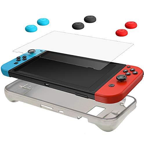 CamKix Schutz-Kit kompatibel mit Nintendo Switch: 1x Silikonhülle TPU (Schwarz), 1x Anti-Kratz Displayschutzfolie und 6X Daumengriffkappe/Joystick Tastenabdeckung (2X Rot, 2X Blau und 2X Schwarz)