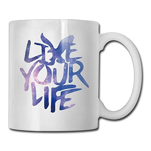 American Eagle Outfitters Live Your Life Persönlichkeit Mode Kaffee Tee Tasse Das perfekte Geschenk für Familie und Freunde ??, Kaffeetasse 325 ml